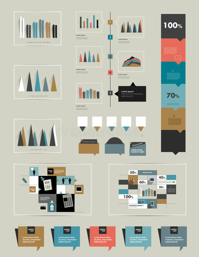 Flat infographic collection of charts, graphs, spe vector illustration