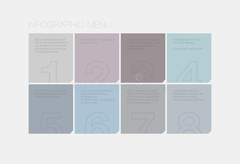 Flat infographic interface elements. Flat infographic vector user interface design of simple abstract square style menu with modern ui elements and text for vector illustration