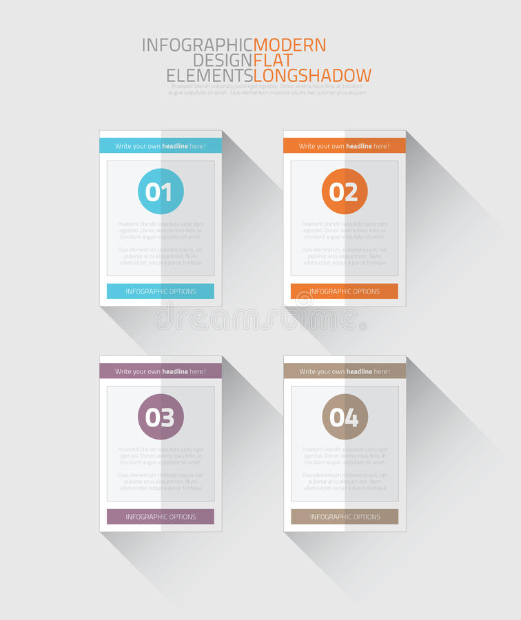 Flat infographic option elements with long shadow vector illustration