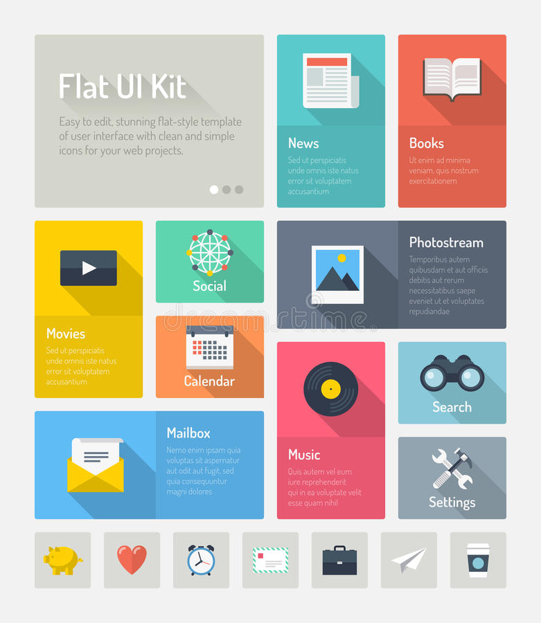 Flat infographic website user interface concept stock illustration