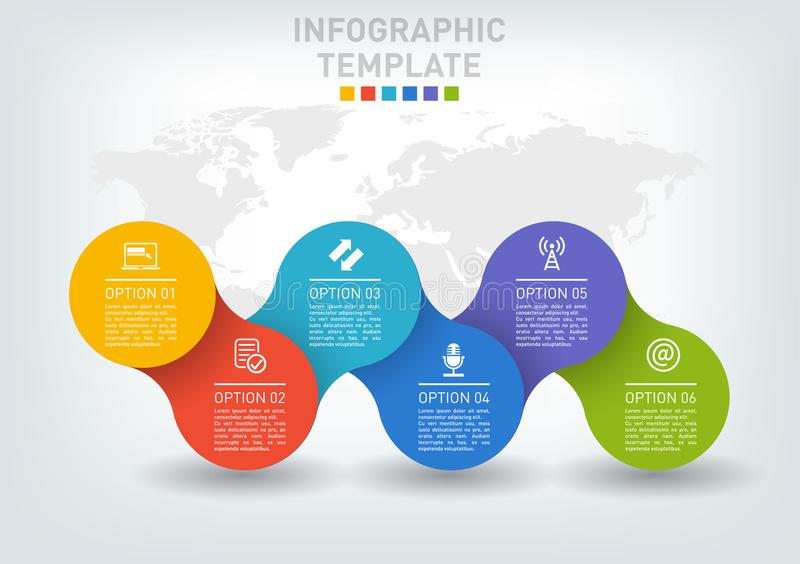 Flat infographics timeline with five options. royalty free illustration