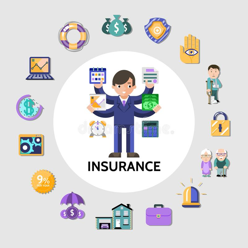 Flat Insurance Round Concept royalty free illustration