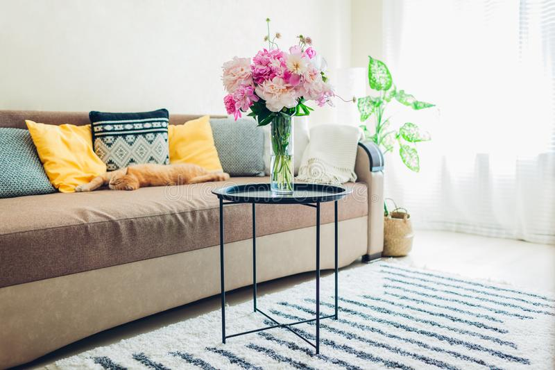 Flat interior of living room decorated with bouquet of peonies, basket, plants and carpet. Cat sleeping on couch royalty free stock photos
