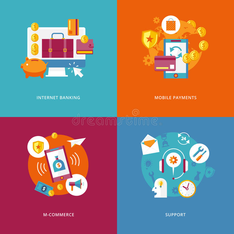 Flat internet banking, mobile payments, commerce, support. Set of flat design concept icons for business and marketing. Icons for internet banking, mobile vector illustration