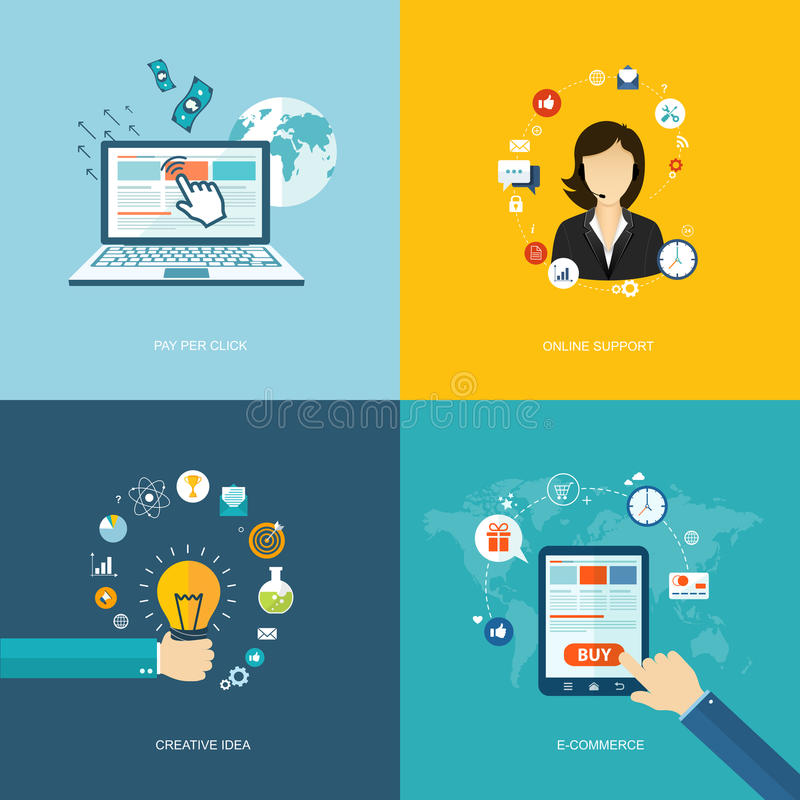 Flat internet banners set. Online support, creative idea, e-commerce, pay per click illustrations vector illustration