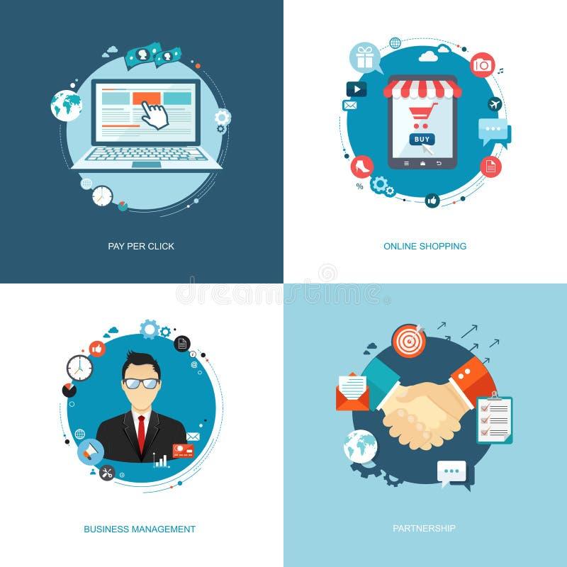 Flat internet banners set. Team management, online shopping, par. Tnership, pay per click illustrations. Eps10 stock illustration