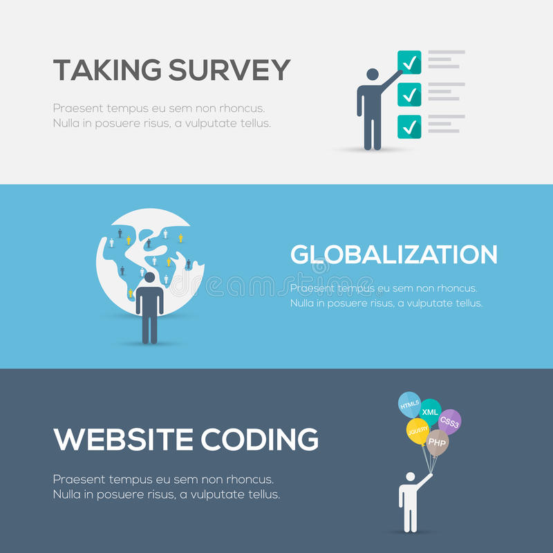 Flat internet concepts. Website coding, globalization and survey. royalty free illustration