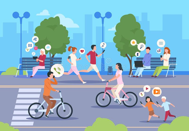 Flat internet urban street. City wifi people walking in park town landscape girl and boy lifestyle. Vector mobile. Internet digital technology royalty free illustration