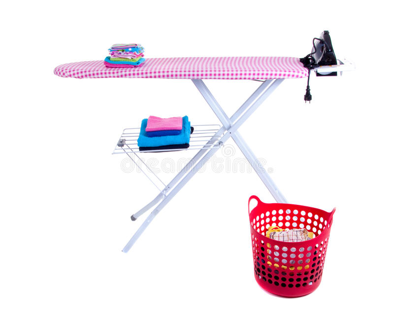 Flat-iron and an ironing board stock image