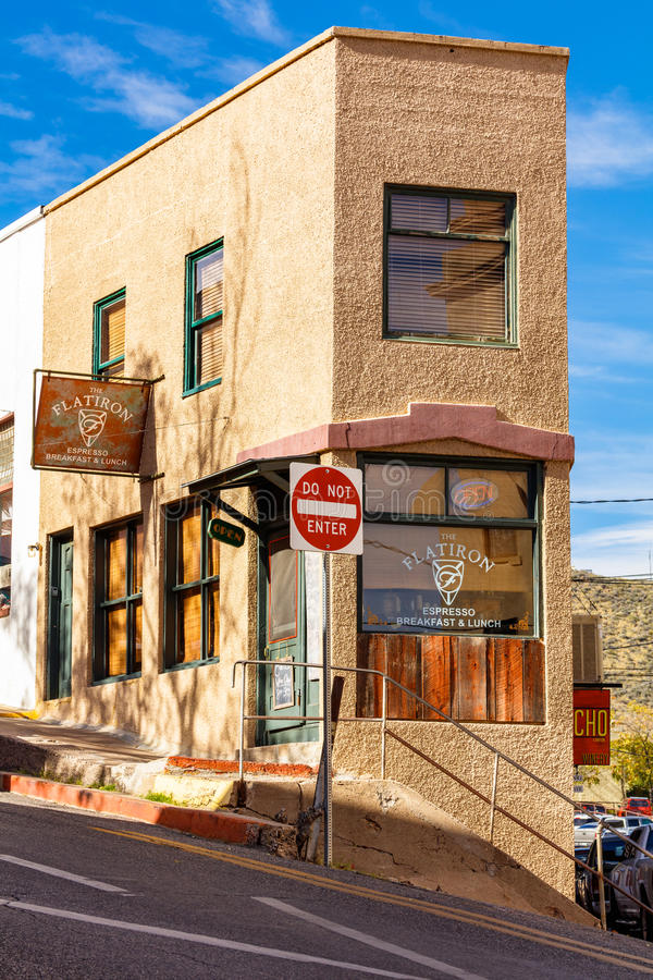 Flat Iron Jerome. Jerome, AZ USA - October 16, 2016: The Flat Iron restaurant is a popular tourist destination in this trendy small mountain town overlooking the royalty free stock photography