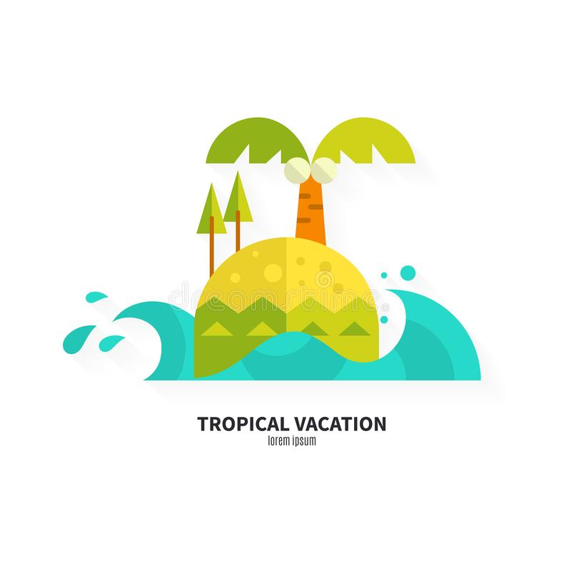 Flat Island Vector. Illustration of an island made in flat style. Solitude and travel concept vector illustration