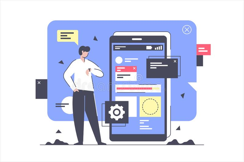 Flat isolated businessman develop and creating new application. stock illustration