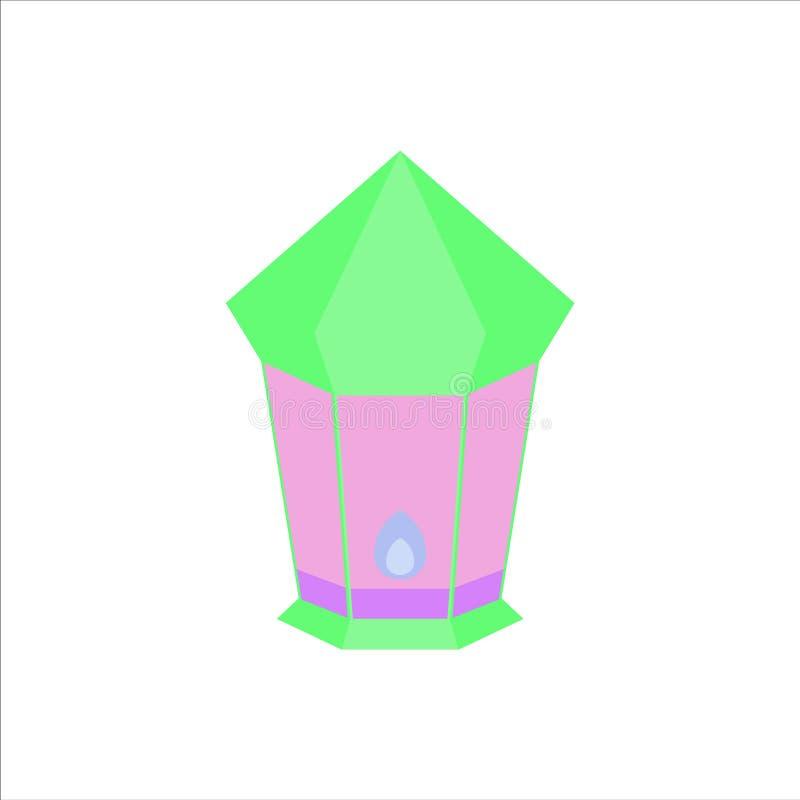 Flat isolated colorful ramadan kareem and eid mubarak lantern, pastel color, illustration and background vector stock photo
