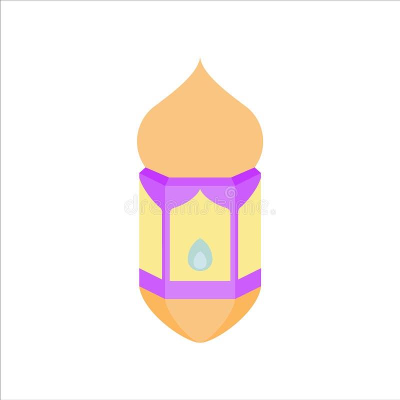 Flat isolated colorful ramadan kareem and eid mubarak lantern, pastel color, illustration and background vector royalty free stock images