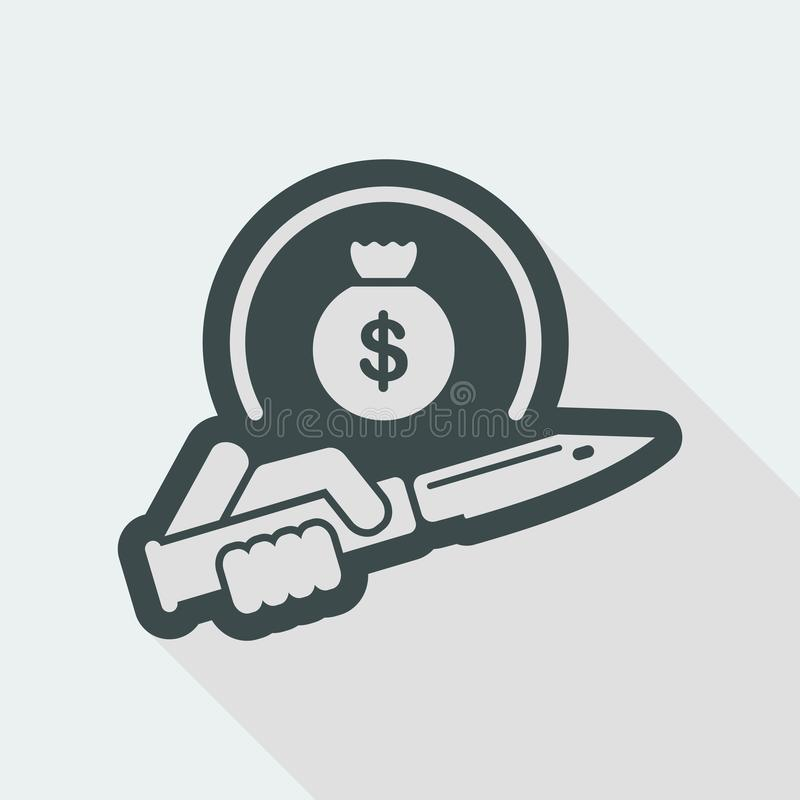 Assault to robbery. Flat and isolated vector eps illustration icon with minimal design and long shadow vector illustration