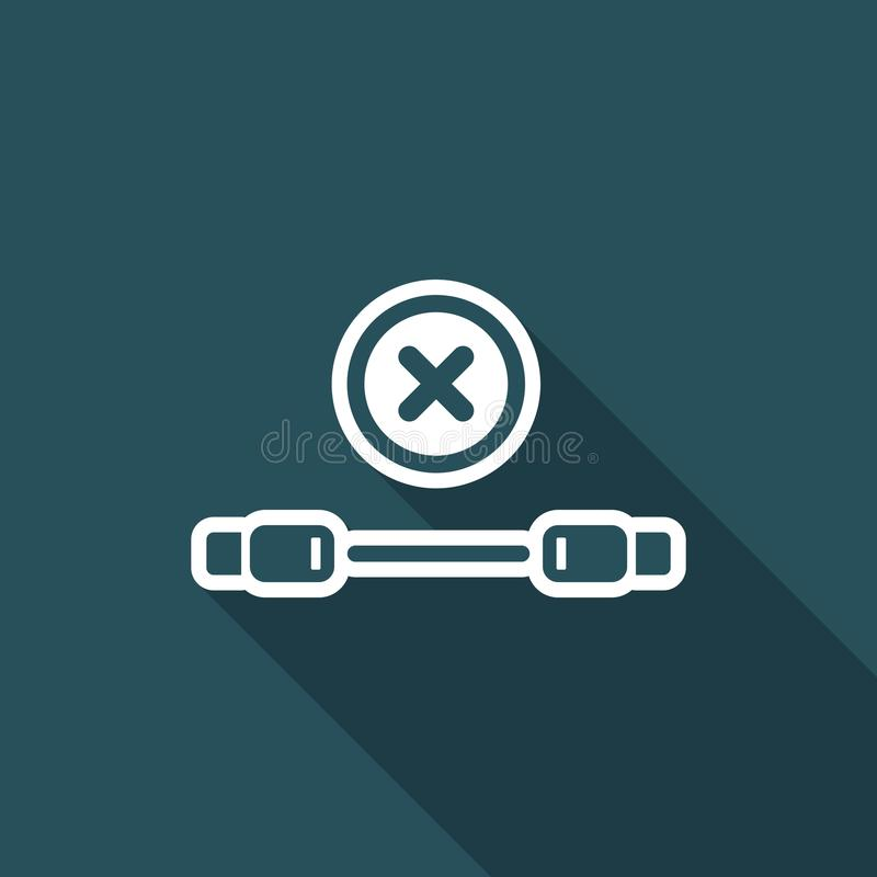 Error usb cable - Vector flat minimal icon. Flat and isolated vector eps illustration icon with minimal design and long shadow stock illustration