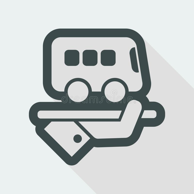 Hotel icon. Bus service. Flat and isolated vector eps illustration icon with minimal design and long shadow royalty free illustration