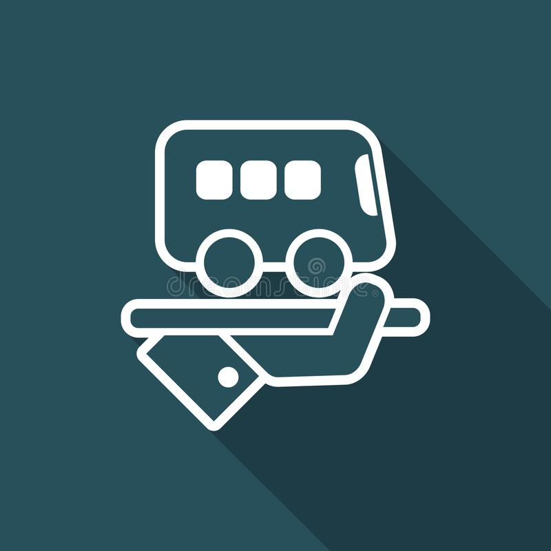 Hotel icon. Bus service. Flat and isolated vector eps illustration icon with minimal design and long shadow vector illustration