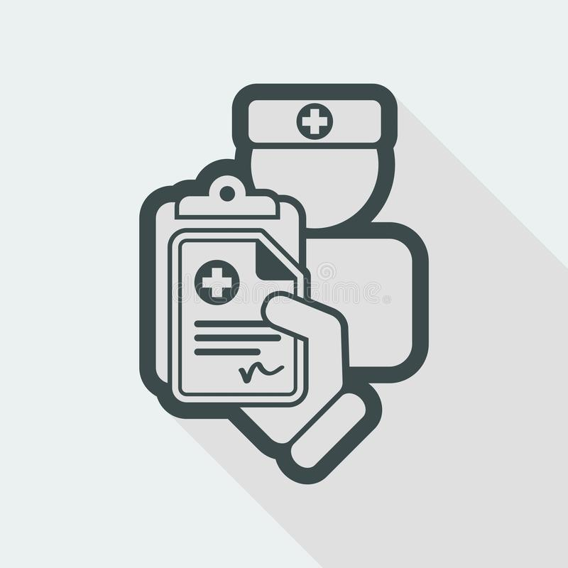Medical prescription. Flat and isolated vector eps illustration icon with minimal design and long shadow vector illustration