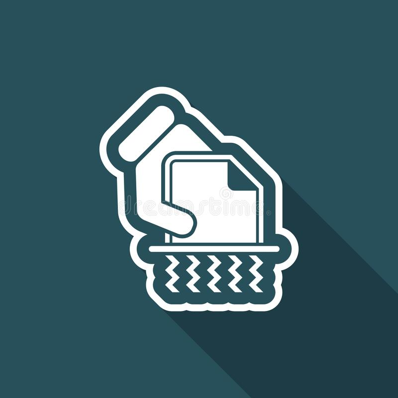 Shredder icon. Flat and isolated vector eps illustration icon with minimal design and long shadow stock illustration