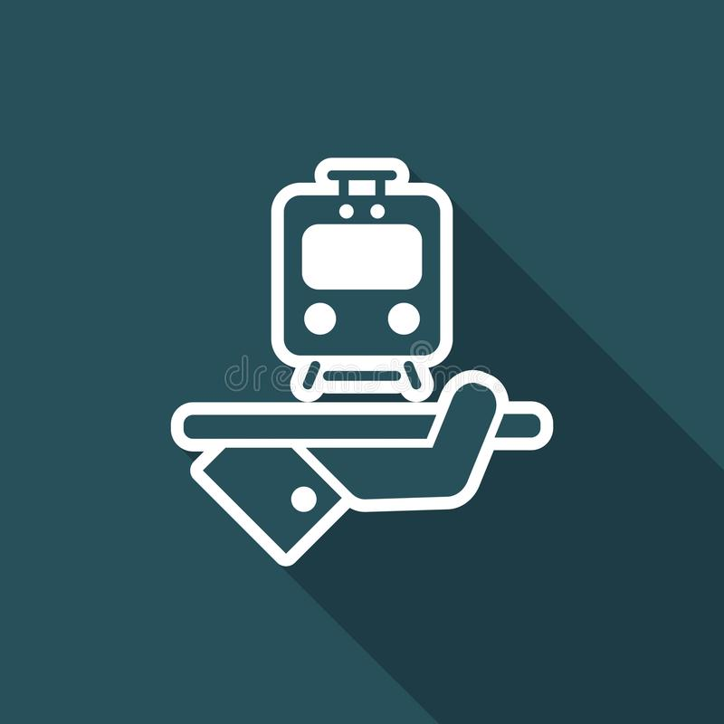 Travel icon. Train service. Flat and isolated vector eps illustration icon with minimal design and long shadow vector illustration