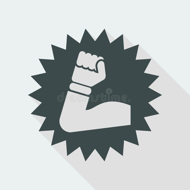 Vector illustration of single isolated muscle icon. Flat and isolated vector eps illustration icon with minimal design and long shadow stock illustration