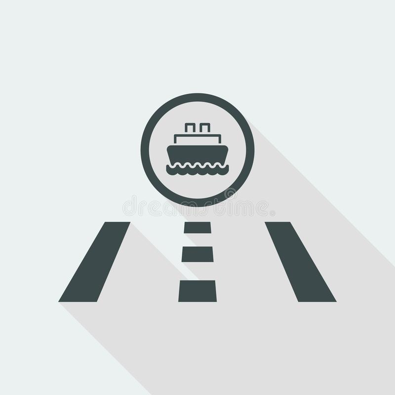 Vector illustration of single isolated road to port icon royalty free illustration