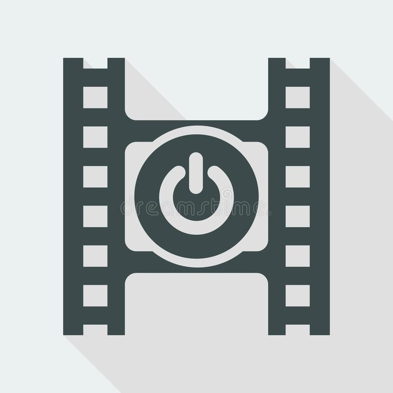 Vector illustration of single isolated video power icon. Flat and isolated vector eps illustration icon with minimal design and long shadow vector illustration