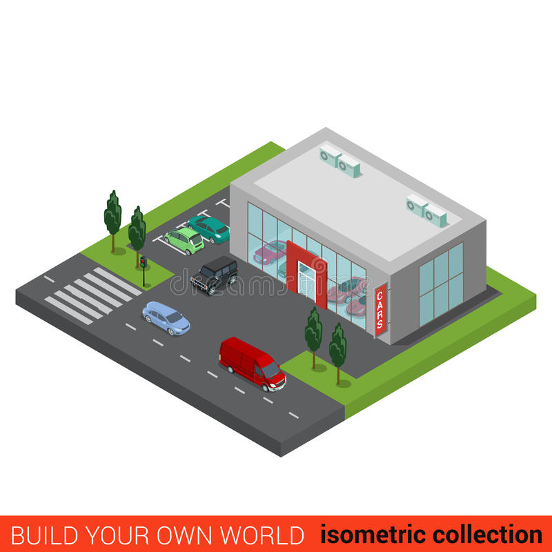 Flat isometric auto car dealership sale building. Flat 3d isometric auto car dealership sale building block infographic concept. Sales business glass trading royalty free illustration
