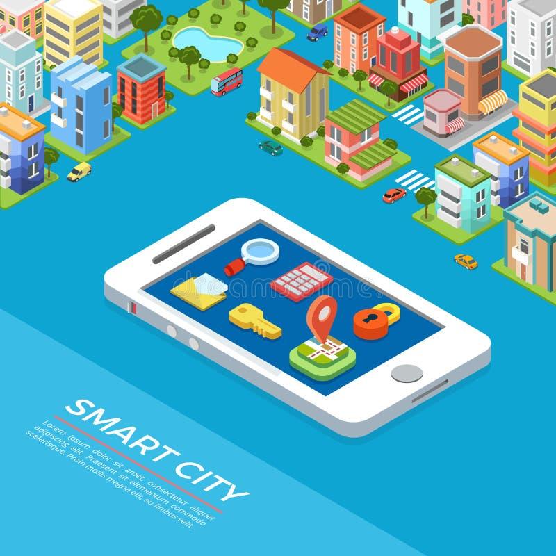 Flat isometric buildings phone Smart city app vect stock illustration