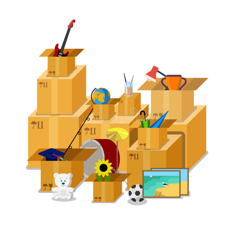 Flat isometric cardboard box stuff stock illustration