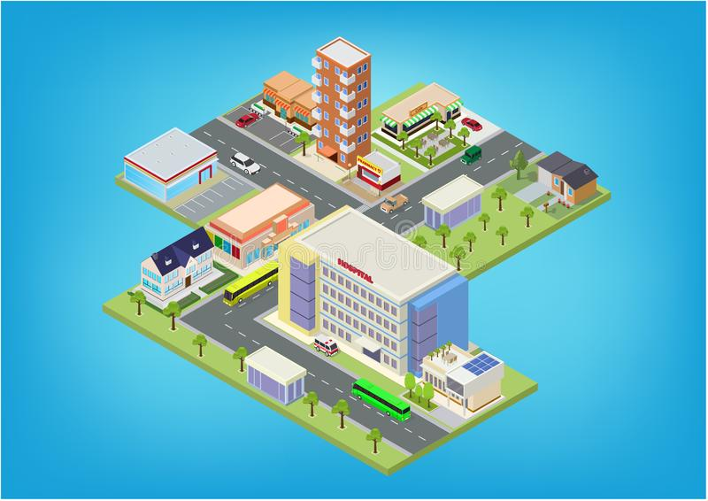 Flat isometric city megalopolis blocks. With building, roads and crossroads illustrations royalty free illustration