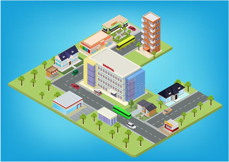 Flat isometric city megalopolis blocks. With building, roads and crossroads illustrations vector illustration
