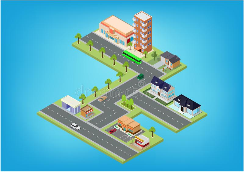 Flat isometric city megalopolis blocks. With building, roads and crossroads illustrations stock illustration