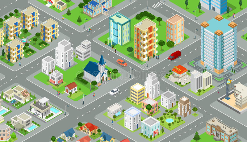 Flat isometric city road model vector. 3d building stock illustration