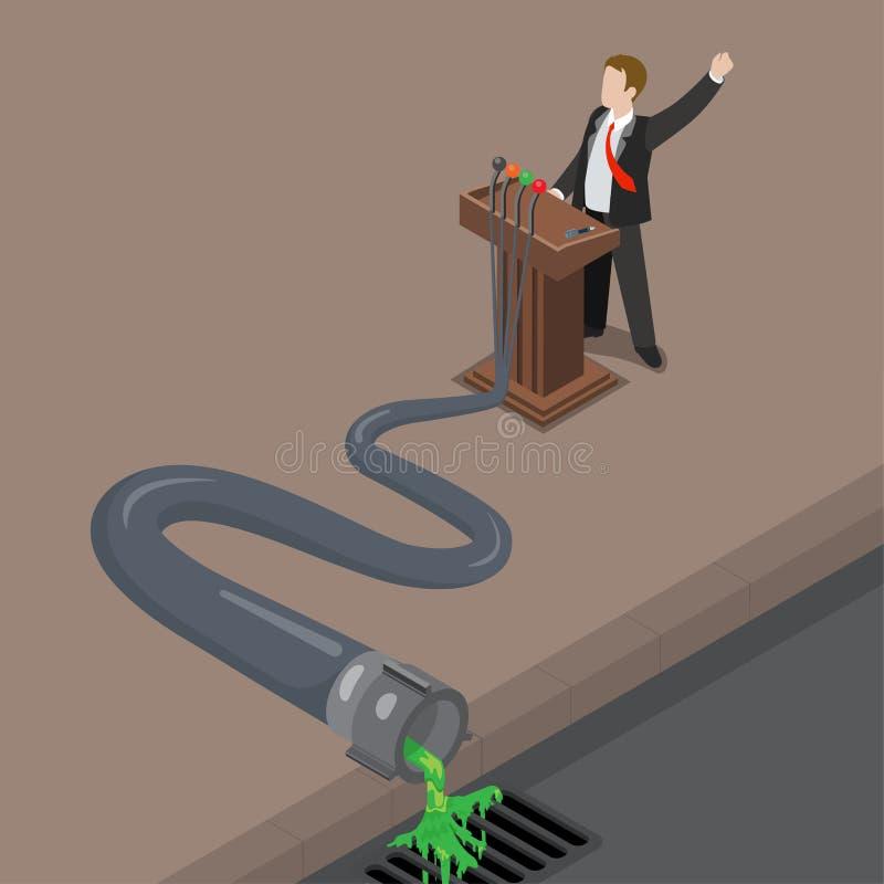Flat isometric 3d Dirty Politics man liquid pipe s stock illustration