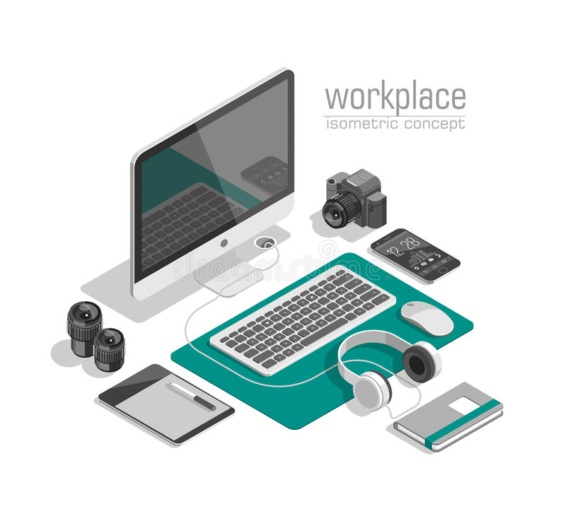 Flat isometric 3d technology designer workspace concept vector. Laptop, smart phone, camera, tablet, player. Flat isometric 3d technology designer workspace stock illustration