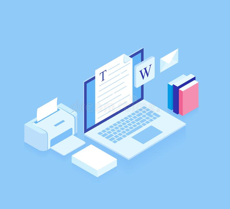 Flat isometric 3d workspace concept vector. Devices set on blue background. Laptop, printer, paper. Modern vector illustration royalty free illustration