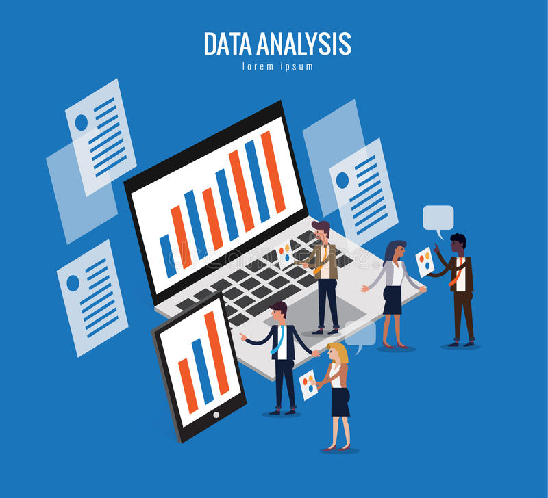 Flat isometric design of data analysis and technology concept. stock illustration