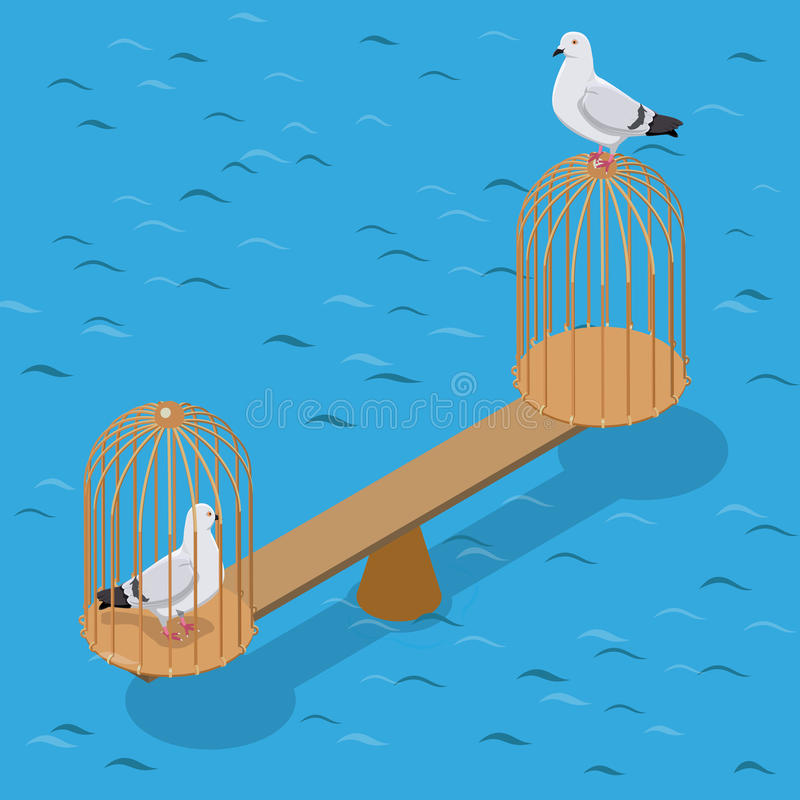 Flat isometric doves scales birdcage vector 3d Cap. Flat isometric two doves balancing on scales, captive and free of birdcage vector illustration. 3d isometry royalty free illustration