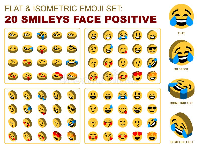 Download Flat Isometric Emoji Set Smileys Face Positive Stock Vector - Illustration of circle, eyes: 115535277