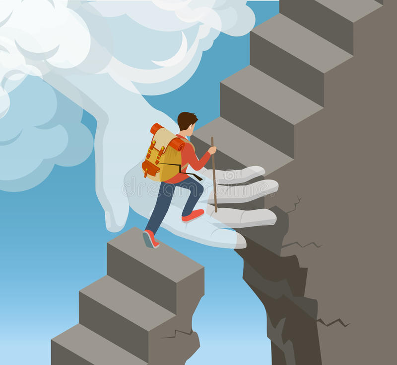 Flat isometric Hand cloud climber ladder vector. 3. Flat isometric Hand from cloud supporting rock climber on stone ladder vector illustration. 3d isometry God stock illustration