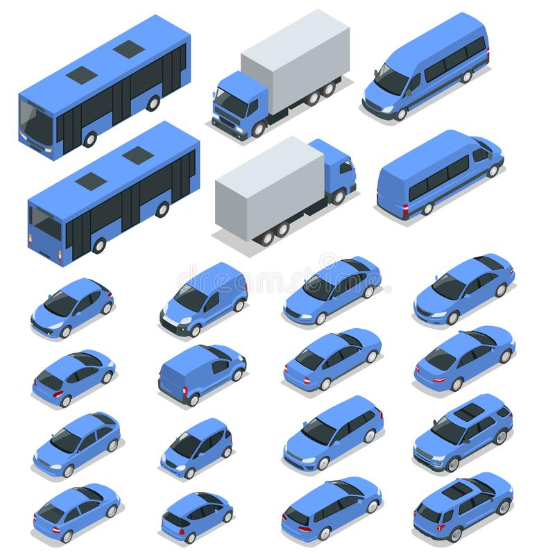 Flat isometric high quality city transport car icon set. Car, van, cargo truck stock illustration