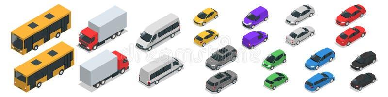 Flat isometric high quality city transport car icon set. Car, van, cargo truck vector illustration