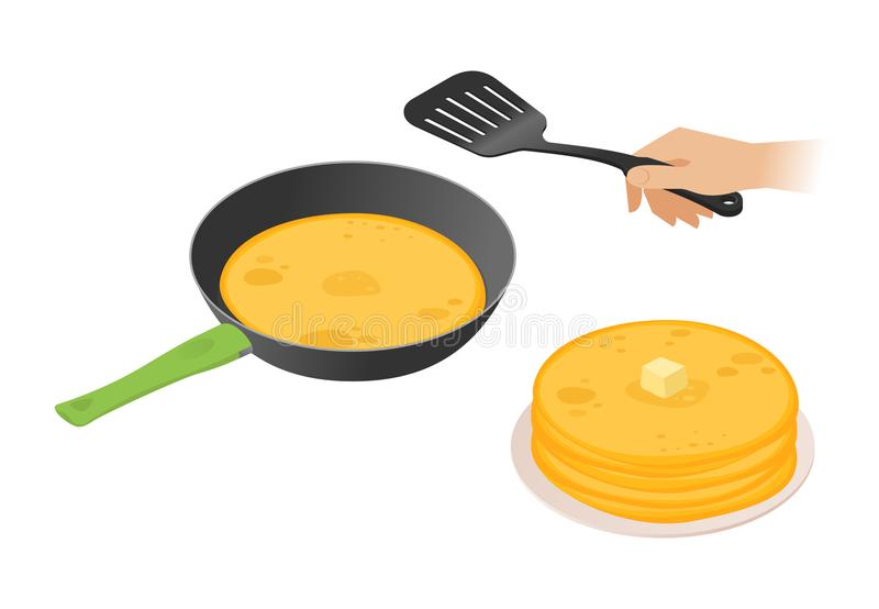 Flat isometric illustration of frying pan with pancakes, hand, s stock illustration