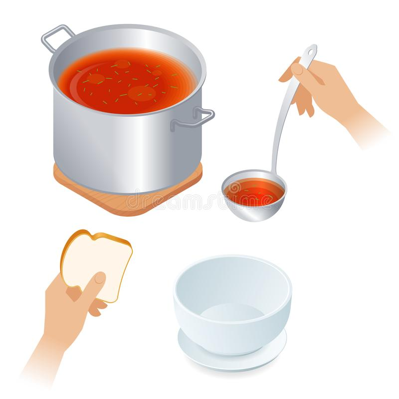 Flat isometric illustration of saucepan with tomato soup, bowl, stock illustration