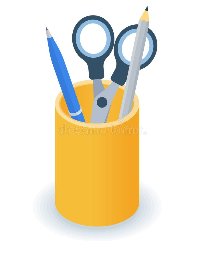 Flat isometric illustration of supplies desktop organizer. Pens, pencils holder. Flat isometric illustration of supplies desktop organizer. Office and school stock illustration