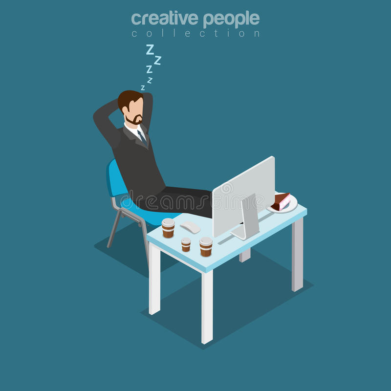 Flat isometric lazy man sleep working place vector. Flat isometric lazy businessman sleeping during coffee break, office working place, drinks and cake on table vector illustration