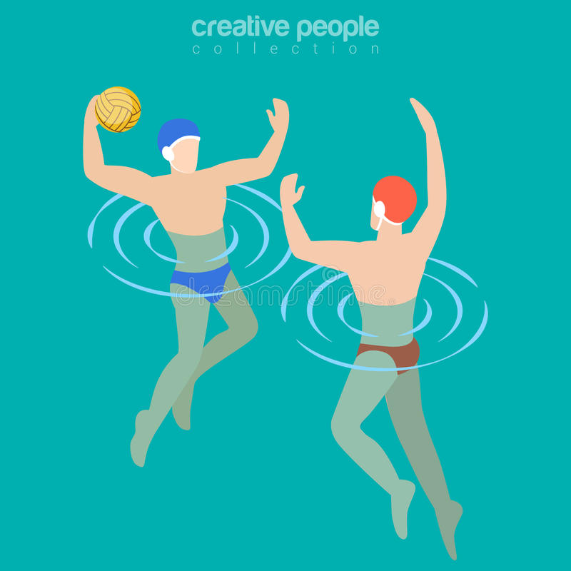 Flat isometric Male water-polo players vector. Illustration. Team sports 3d isometry concept vector illustration