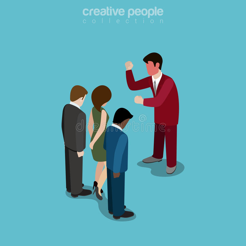 Flat isometric manager yelling people vector. Flat isometric Angry manager with red face yelling on businesspeople vector illustration. 3d isometry business stock illustration